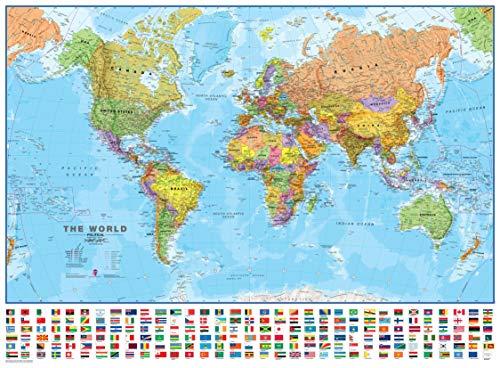 Maps International - Mappa del mondo con bandiere, laminato, 84,1 cm (larghezza) x 59,4 cm (altezza).