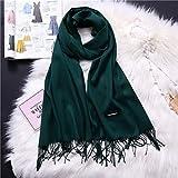 Bufandas de invierno para mujer chales abrigos cálidos señora Pashmina manta pura bufanda de cachemira cuello diadema Hijabs estolas fular
