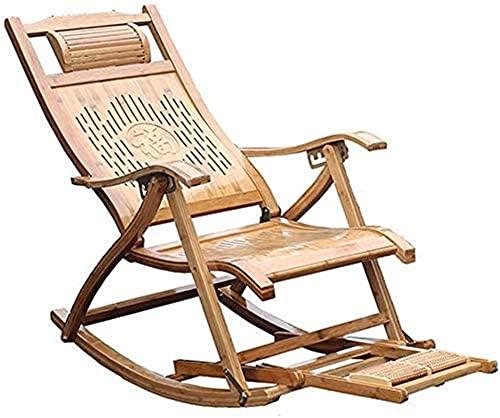 Sillas de camping reclinables Tumbonas de jardín Silla plegable Mecedora de bambú, Sillón reclinable plegable de jardín, con masaje de pies, Sillón para ancianos, Tumbona de terraza exterior ajustable