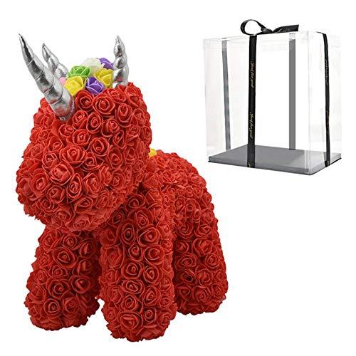 2020 Hot Sale Rabbit Dog Panda Unicorn Teddy Bear Rose Soap Foam Flower Kunstspeelgoed Kerstcadeaus voor vrouwen Valentines Gift, Red Unicorn in Box