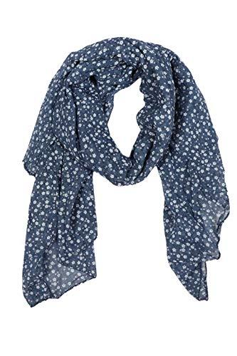 Zwillingsherz Seiden-Tuch im Blümchen Design - Hochwertiger Schal für Damen Mädchen - Halstuch - Umschlagstuch – Pashmina - Loop - weicher Schlauchschal für Frühjahr Sommer Herbst Winter - navy