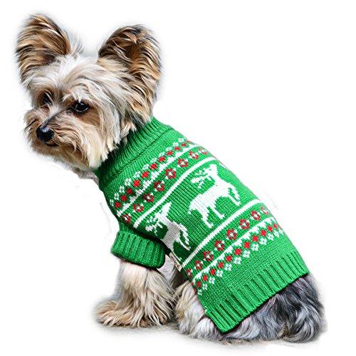 Stinky G Festive Reindeer Dog Sweater Green Size...