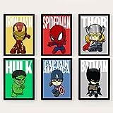 MKWDBBNM Cuadro de Lienzo de Dibujos Animados de superhéroes póster de Arte de Pared para decoración de habitación de niños imágenes decoración del hogar | 30x42cmx6 sin Marco
