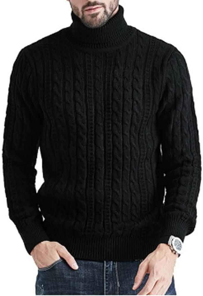 ZYING New Winter Men Solid Color Sweater High Neck Thick Warm Twist Jumper Loose Sweater Turtleneck Slim Fit Pullover Men Knitwear (Color : Style 4)