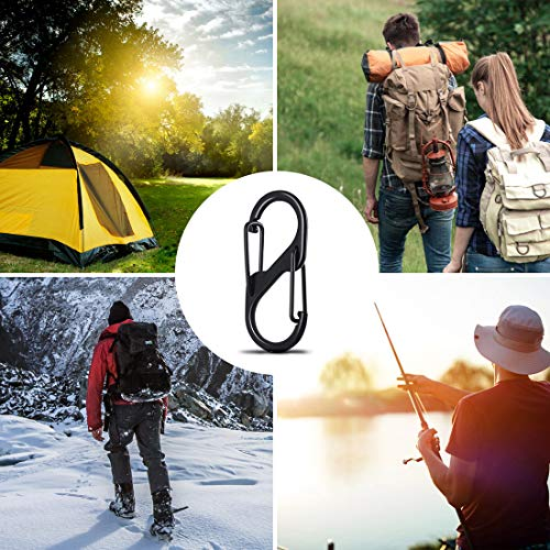 HONGECB 20 Pieces S Carabiner Key Chain, Double Spring Key Chain, S-Shape Buckle Carabiner, for Home, Outdoor Hiking, Fishing, Camping, Travel etc, Black