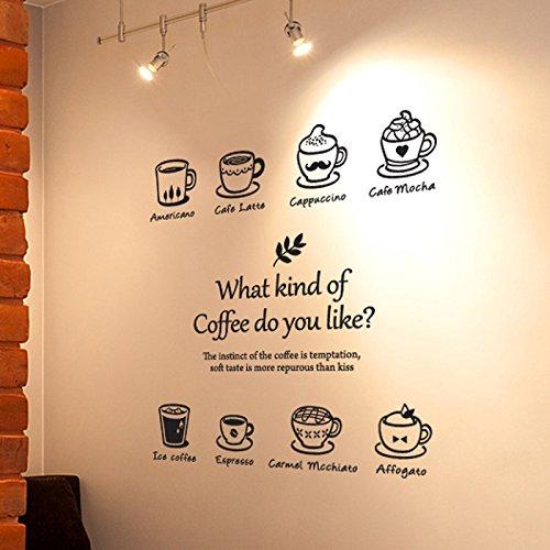 HCCY Die Art der Kaffee Kaffee Tasse Wand eis American Samoa Karte Café Latte Aufkleber Western Restaurant, Coffee Shop Fenster Glas Tür Aufkleber 85 * 90 cm, schwarz