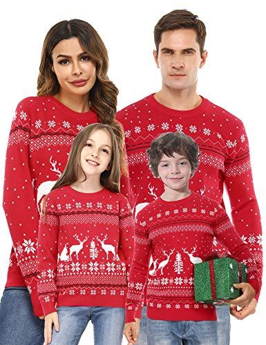 Akalnny Weihnachtspullover Mädchen Gestrickte Pullover Weihnachtsbaum Rundhals Sweater Schneeflocken Strickpullover Rot 6