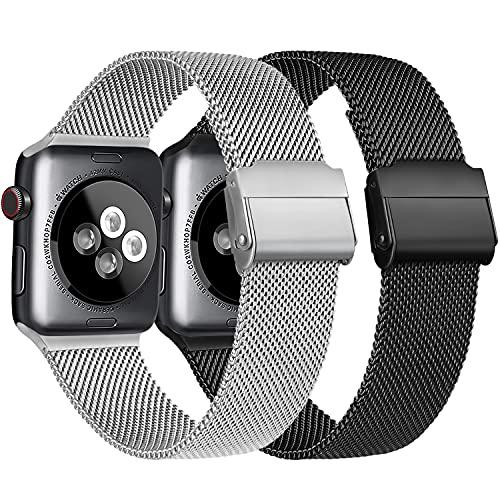 Meliya Cinturino Compatibile per Apple Watch Cinturino 44mm 42mm 40mm 38mm Series 6 5 4 3 2 1 SE, Cinturino in Metallo Maglia Milanese a Acciaio Inossidabile Cinturini (1Argento+Nero, 38 40mm)