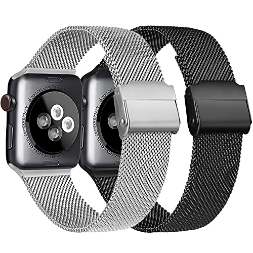 Meliya Cinturino Compatibile per Apple Watch Cinturino 44mm 42mm 40mm 38mm Series 6 5 4 3 2 1 SE, Cinturino in Metallo Maglia Milanese a Acciaio Inossidabile Cinturini (1Argento+Nero, 42/44mm)