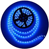 ALITOVE 16.4ft 5050 Blue LED Flexible Strip Ribbon Light Black PCB DC 12V 5M 300 LEDs Waterproof IP65 for Home Garden Commercial Area Lighting, Without Power Supply