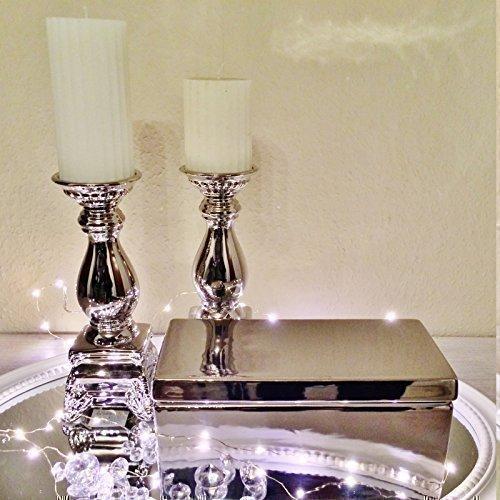 DRULINE Keramik Aufbewahrungsbox Box Silber Deko Kasten Schmuckkasten mit Deckel