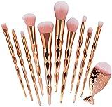 YMZ 11 brochas de maquillaje estilo sirena, mango de diamante, conjunto de brochas de maquillaje para el contorno de la brocha de maquillaje multiusos, cepillo de sombra de ojos