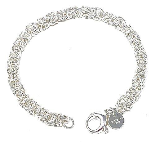Königsarmband rund versilbert 6 mm 19 cm Herren-Armband Silberarmband Damen Geschenk Schmuck ab Fabrik Italien tendenze BZSRO6-19v