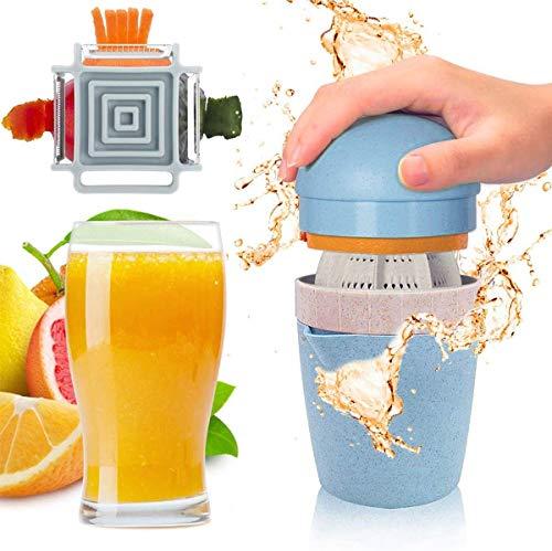 IAGORYUE Exprimidor de Zumos Manual - Exprimidor Naranjas Profesional 2 en 1 con Pelador 4 en 1 - Exprimidor Limon/Naranja/Lima y Cítricos - con Recipiente - sin BPA, Apto para Lavavajillas - Bleu