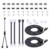 SIGHTLING Tira de luces LED Conector para 5050 10 mm 4 pines, incluye Cable divisor de 2 vías, Cable de extensión, Conectores en forma de L, 10mm Puentes de tira, 4 Pin Masculino Conectores