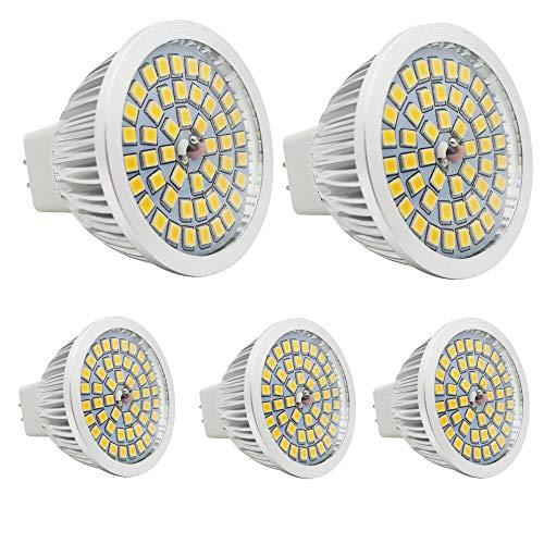 5 Stück GU5.3 MR16 Led Lampe 12V Warmweiß 3W,25W GU5,3 Halogenlampe Äquivalent,GU 5.3 Sockel Glühlampen,Hohe Kompatibilität, 3000K,50mm Durchmesser,Aluminium,320LM