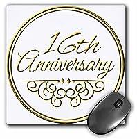 3drose 8x 8x 0.25インチ16th AnniversaryギフトゴールドのテキストのCelebrating結婚記念マウスパッド(MP 154458_ 1)