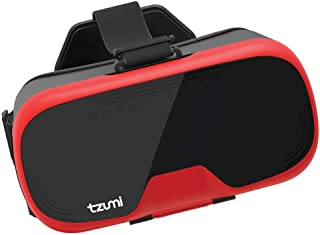 Tzumi Dream Vision Virtual Reality Smartphone Headset, Retracteable Built-in Ear Buds,fits all phones up to 6 inch, 360 Video Capability, Lightweight with high durability, Works with all VR apps. Red