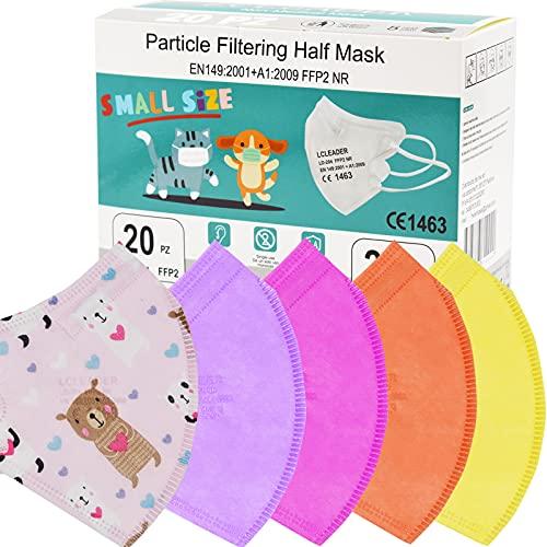 Mascherine FFP2 taglia piccola Small Size Maschera Facciale Protezione Certificate CE Confezione da 20 Pezzi 5 strati