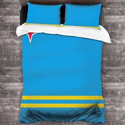 KDRW Aruba Flag Twin Quilt Bedding Set Ultra Soft Microfiber Bedding Quilt Coverlets Lightweight Bedspread Durable Coverlet Quilts for All Season 3 Piece/Set