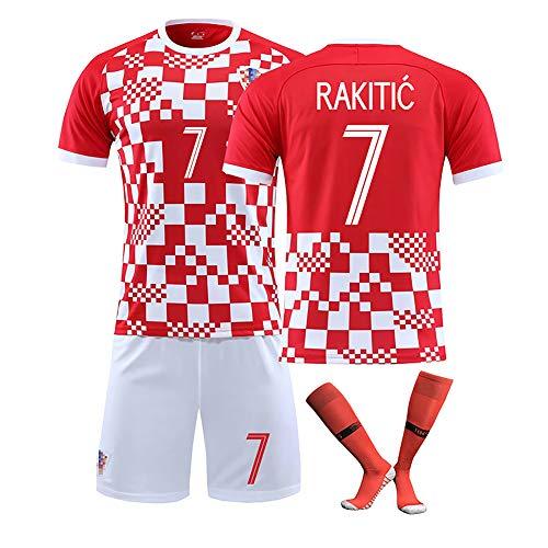YLHLZZ Fußball Trikot Kroatien Nationalmannschaft für Modric 10# Rakitić 7# Mandzukic 17# Saisonanzug Europapokal Benutzerdefinierte Fußballuniformen-7#-M