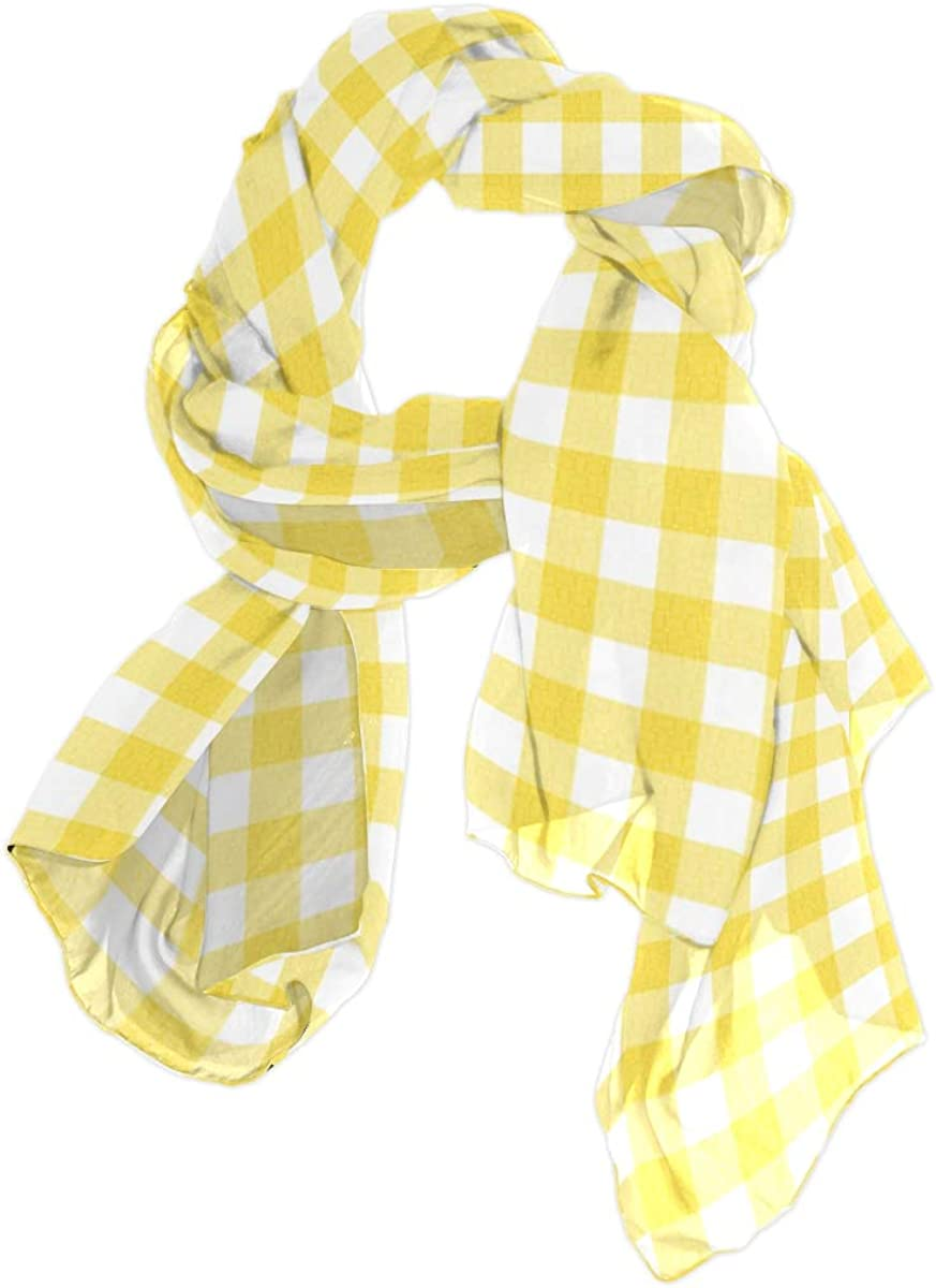 Cute Yellow Lattices Unique Fashion Scarf For Women Lightweight Fashion Fall Winter Print Scarves Shawl Wraps Gifts For Early Spring