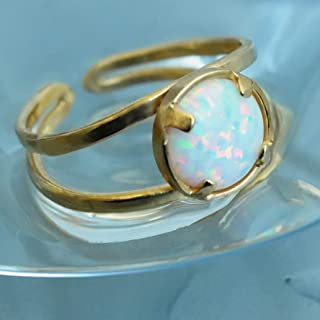 mexican fire opal ring gold
