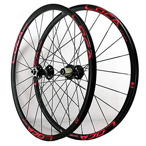 ZFF 26/27.5in MTB Wheelset QR Bicycle Front & Rear Wheel Alloy Rim Sealed Bearing 11/12 Speed Cassette Hub Disc Brake 24hole (Color : Red, Size : 26in)