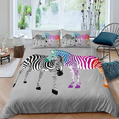 Fifase Bedding Sets Duvet Cover Set 3 Piece, Polyester Microfiber Wild Animal Colored Zebra(200 X 200 Cm) Bedroom Duvet Set 1 X Quilt Case For Double King Single Bed +2 X Pillowcases