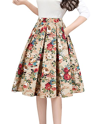 Tandisk Women's Pleated Vintage Skirt Floral Print A-line Midi Skirts with Pockets Gold Flower XL