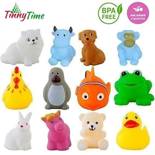 Tinny Time Chu Chu Bath Toys for Baby Non-Toxic Toddler Set Multi Color,Soft plastic (Pack of 12pcs Bath Toys)