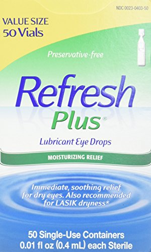 Refresh Plus Lubricant Eye Drops For Dry Eyes, Preservative-Free, 0.01 Fl Oz Single-Use Containers,...