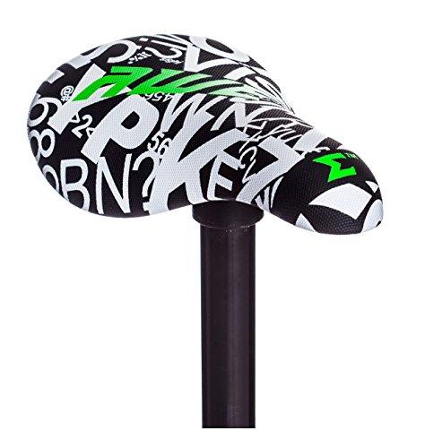 AWE® BMX Freestyle Sattel schwarz/weiß GRATIS Sattelstütze