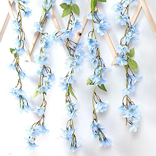 2 Packs 5.9 Feet Artificial Flowers Vines Silk Fake Cherry Blossoms Garland Floral String for Home Wedding Arch Outdoor Garden Wall Decor Party Decoration (Blue)