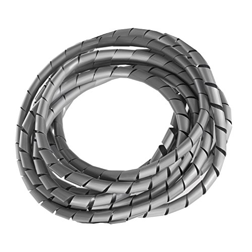 Maclean Organizador de Cables en Espiral Color Plateado 3 m - 4...