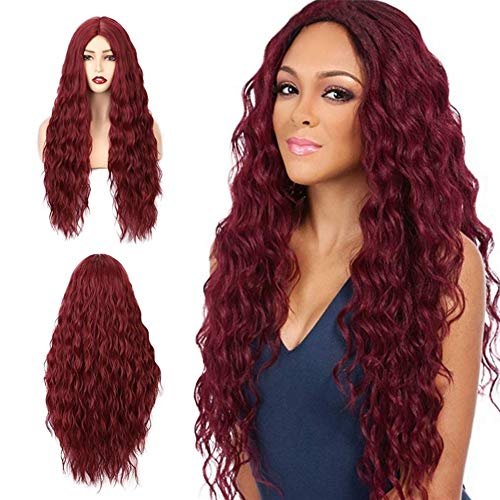 Red Wig,Wigs for Women Burgundy Long Wig Hair Replacement Wigs for Women Costumes Heat Resistant Long Wavy Party Cosplay…