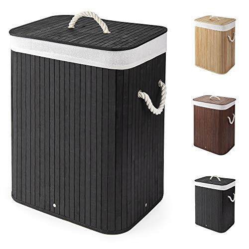 Virklyee Cesto para la Colada de Bambú Cesto para Ropa Bambú 60L Cestos para la Colada con Asas Cesta para Ropa Pelegable Saco extraíble para la Ropa Sucia (Negro)
