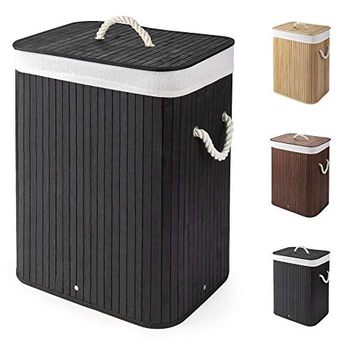 Virklyee Bamboo Laundry Basket 60L Collapsible Bamboo Laundry Hamper Laundry Basket Removable Lining Small Laundry Bins Laundry Hamper with Lid Bamboo Laundry Storage basket Laundry Bag (Black)