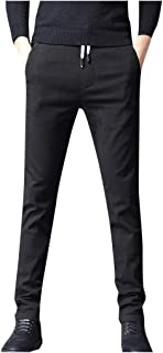 YAYUMI Men's Joggers Pants Solid Color Pockets Straight Slim Trousers with Drawstring Long Pant