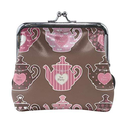 Satz Vintage Teekannen Vektor Bild Retro Leder niedlich Klassische Blumenmünze Geldbörse Clutch Pouch Wallet