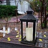 Bright Zeal BZN 14' Tall Vintage Decorative Lantern with LED Pillar Candle (Black, Batteries Included) - Waterproof Lanterns Large Lanterns Decorative Outdoor Lanterns - Hanging Candle Lantern Indoor