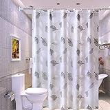 ALHXF Shower Rollo Curtain Duschvorhang Badewannevorhang - Wasserdicht Anti-Schimmel inkl 12 Duschvorhangringe für Badezimmer 180x200cm