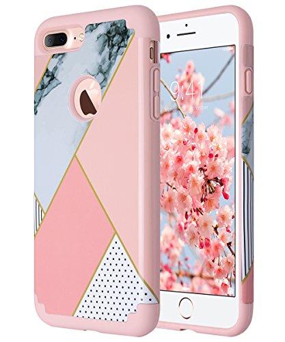 ULAK iPhone 7 Plus Cover, iPhone 7 Plus Custodia Ibrida a Protezione Integrale con Parte Esterna in 2 Strati di Morbido Silicone e Interno Rigido Case Cover per Apple iPhone 7 Plus (Oro Rosa Marmo)