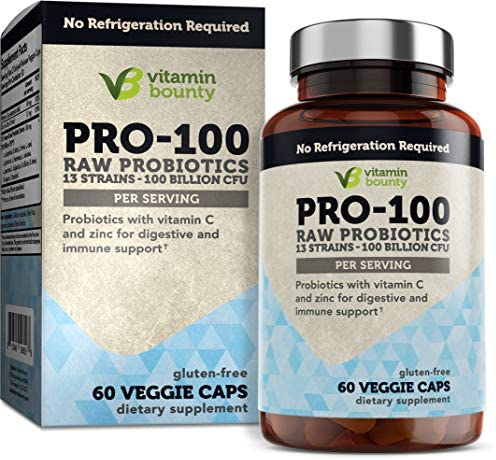 100 Billion CFU 13 Strains Raw Probiotics with Vitamin C Zinc for Immune Support Gut Digestive product image