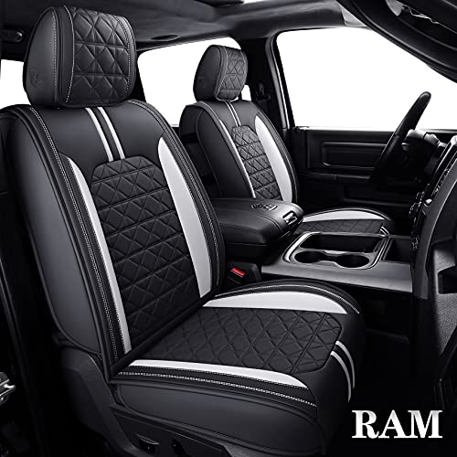 YIERTAI RAM Seat Covers Fit for 2009-2021 1500 HD 2010-2021 2500/3500HD Pickup Full Set Crew Double Cab Quad Cab Waterproof Faux Leather Seat Covers(5 PCS Full Set/Black-White)