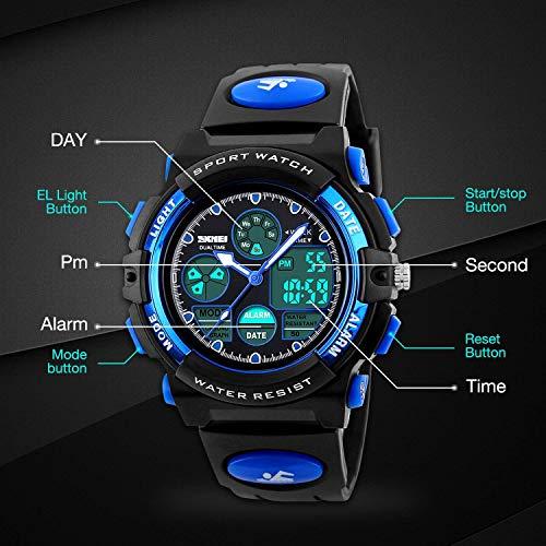 Kids Sports Digital Watch, Boys Girls Outdoor Waterproof Watches Children Analog Quartz Wristwatch - Blue