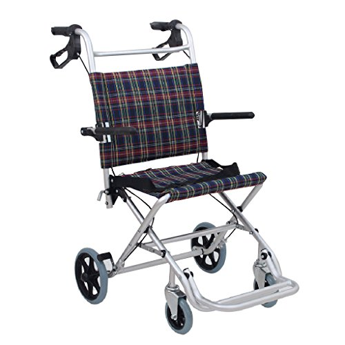 Kinderrollstühle Tragbarer Zusammenklappbarer Rollstuhl Erwachsenenrollstuhl Behindertenrollstuhl Rollstuhl for Reiseflugzeuge, Gewicht 75 Kg Tragend (Color : Blue, Size : 78 * 57 * 93cm)