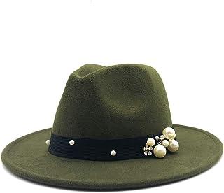 Fashion Sun Hat for Fashion Women Fedora Hat Felt Leather Belt Pearl Decorative Hat Vintage Felt Hat Church Godfather Wide-Brimmed Wool Hat Suitable for hot Weather Season