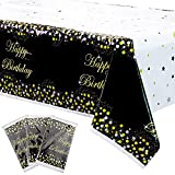 XJLANTTE Paquete de 3 Decoraciones de Fiesta de Mantel Negro y Dorado: Mantel, Cubierta de Mesa Rectangular con Confeti de Estrella de Puntos Negros y Dorados, manteles de 51  'x86