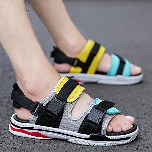 DSZZ Salud de los Hombres Ajustable Velcro Sandalias Ortopédicas Extra Anchas Diabéticas Zapatos De Verano De Moda Al Aire Libre Zapatos De Playa, Amarillo, 42